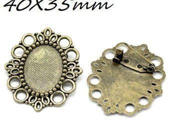 40X35mm bronze oval brooch