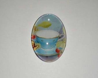X 1 cup of tea glass oval Cabochon