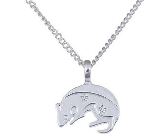 925 silver plated mouse pendant necklace