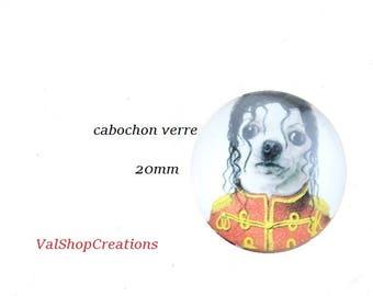 X 1 glass dog Mr. Jackson 20mm Cabochon