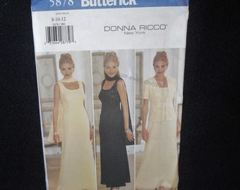 Misses Dress Butterick 5878 Womens Sizes 8-12 Donna Ricco designer Petite Scarf Jacket Aline Evening Formal