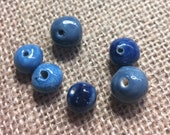 Set of 6 blue handmade clay beads three shades of blue Round beads