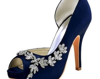 Navy bridal shoes | Etsy