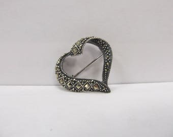 Vintage Sterling Silver Marcasite Heart Pin W #794