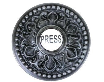 Round PRESS Porcelain Door Bell Button Electric Victorian Solid Brass Old Style Aged Dark Bronze