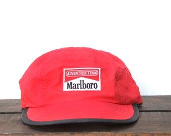 Vintage 90's Marlboro Adventure Team Cigarettes Tobacco Unstructured 5 Panel Strapback Hat Baseball Cap