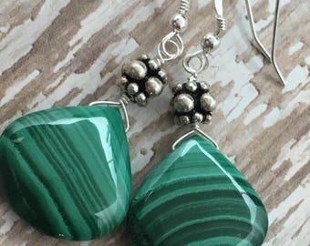 Malachite Earrings, Genuine Stone Earrings, Malachite Teardrop Earrings, Sterling Silver Earrings, Earrings Under 150