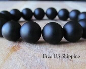 10mm Matte Black Onyx Bracelet,  Mens Bracelet, Gift for Men, Mens Jewelry, Mala Bracelet, Yoga Jewelry, Mens Jewelry, Mens Beaded Bracelet