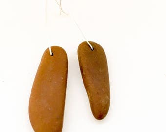 "Brown Stone Earrings - ""Natures Abstraction"""