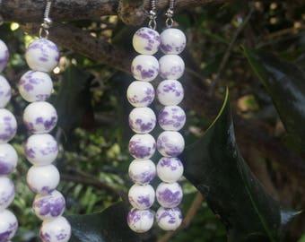 Purple Fields Eight Ceramic Bead Earrings