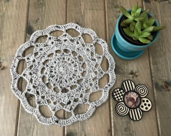 Crocheted Neutral Mandala Doily in Oatmeal