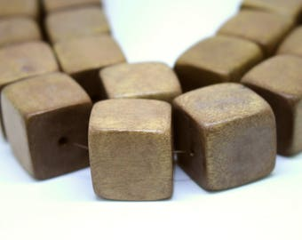 20mm Light Brown Cube Wood Beads - Dyed and Waxed - 10 pcs.