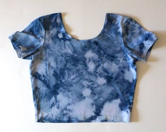 XL Blue Watercolor Crop Tee