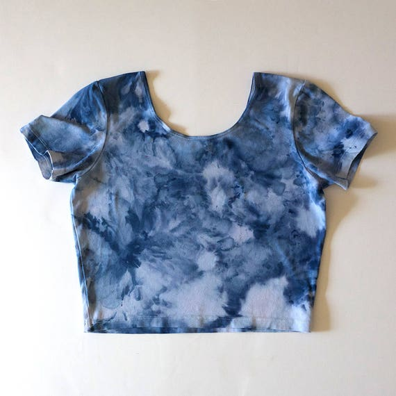 L Blue Watercolor Crop Tee