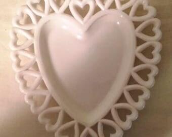 Unique vintage milk glass heart shaped dish
