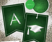 Small Green & Silver 2018 Printable Banner  |  All Letters 0-9 numbers | Graduation, Birthday, Congratulations, Anniversary