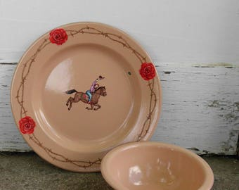 Marble Canyon Enamelware Cowgirl Plate & Bowl