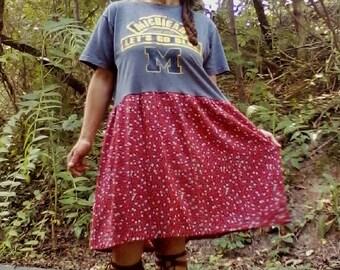 T SHIRT DRESS Upcycled Dress Recycled Dress Hippie Dress Beach Dress Sports Dress Michigan Dress One of a Kind *Michigan*