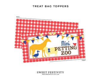 Instant Download, County Fair Treat Bag Toppers, County Fair Party Favors, Mini Petting Zoo, Farm Animal Favors, Farm Party, Printable