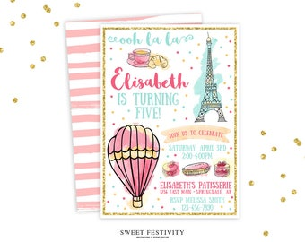 Paris Invitation, Paris Party, Paris Birthday Party Invitation, Hot Air Balloon Invitation, Pink, Gold Glitter, French Party Invitation