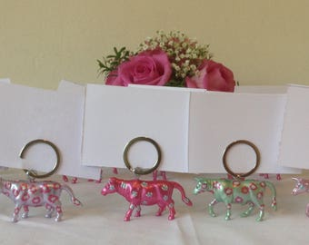 Cow place card holder and wedding favour key rings in one 25  Hand painted floral cows
