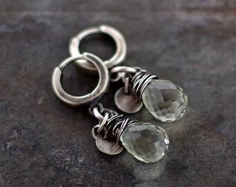 Sale 10 - 20 % OFF • USE CODE ! •  Green Amethyst Earrings •  925 sterling silver • long thread cocoon drop earrrings oxidized silver