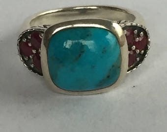 ON SALE Turquoise Ruby Sterling Ring Sz 8 Silver 925 Vintage Southwestern Jewelry Holiday Birthday Mother's Anniversary Graduation Gift Boho