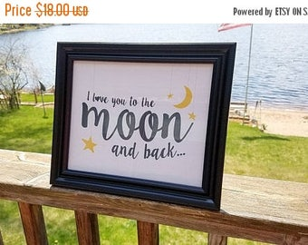 Clearance I Love you too the moon and back.  Framed print