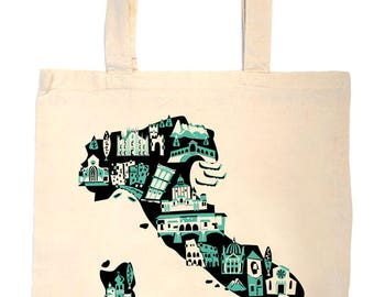 Italy Tote Bag-Country Map Tote-Italy Landmark Bag-Custom Color-Personalized-Custom Wedding Welcome Tote-Rome-Milan-Naples-Turin