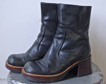 Black Stacked Heel 90's Grunge Boots Ladies size 8