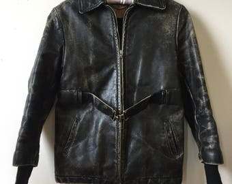 Vintage 1940s 1950s Black Distressed Leather Jacket- AS IS