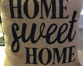 burlap home sweet home pillow cover throw pillow 16x16 pillow cover