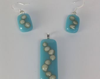 Turquoise Cream Drop Earrings and Pendant Set, Fused Glass