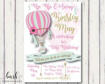 Hot air Balloon Invitation, hot air balloon birthday, hot air balloon birthday invitation, First Birthday Invitation, first birthday girl