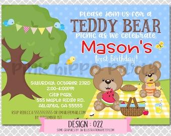 Teddy Bear Picnic, Park, Boy:Design #022-Children's Birthday Invitation, Personalized, Digital, Printable, 4x6 or 5x7 JPG