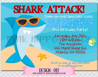 Cool Summer Shark, Attack, Ocean, Beach, Water:Design #081-Children's Birthday Invitation, Personalized, Digital, Printable, 4x6 or 5x7 JPG