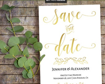Printable Save the Date, Wedding template, Gold and black, Instant download self editable PDF A503
