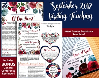 September 2017 Visiting Teaching Message and Printables, LDS Relief Society, Instant Download, VT Message
