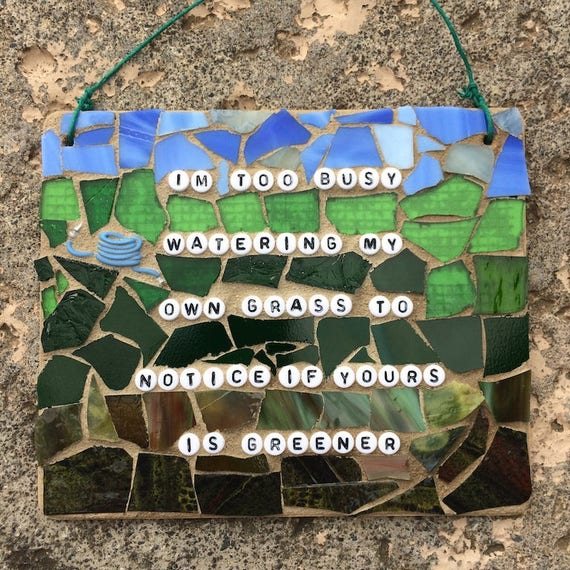 Gardening Mosaic Inspirational Quotes and Affirmations Stained Glass Mixed Media Made in Hawaii Deesigns by Harris©
