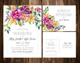 Bold Colorful Watercolor Wildflower Wedding Invitations; Fuchsia; Printable OR set of 25