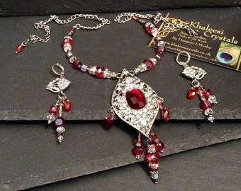 Scarlet Red Gatspy Swarovski Crystal Necklace & Earring Set
