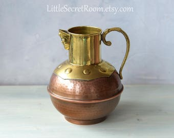 Vintage pitcher / copper brass vase / pitcher with handle/ Copper Jug / Wine Pitcher