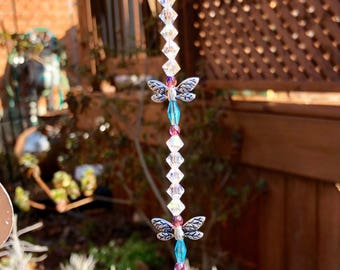 Violet and Turquoise crystal glass dragonfly suncatcher