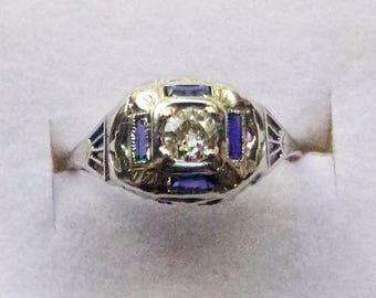 Art Deco 18k filigree white gold antique engagement ring .25 ct diamond baguette sapphires size 6