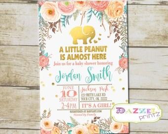 Elephant Baby Shower Invitation, Watercolor Gold Foil Elephant  Baby Shower Invite, Little Peanut Baby Shower Invitation, 4x6 or 5x7, 6717-A
