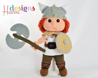 Crochet Pattern - Tommy With Viking Costume (Amigurumi Doll)