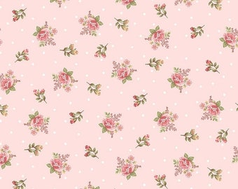 Anniversary Sale Peaceful Garden~Rosebuds on Pink Cotton Fabric by Henry Glass Fast Shipping F883