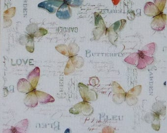 Summer Sale- Rainbow Seeds~Butterflies~Cotton Fabric by Wilmington Prints~Home Decor Quilt~Fast Shipping,N375