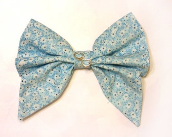 Big Cotton Bow with Blue Flowers and Hearts