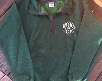Monogrammed 3/4 zip pullover
